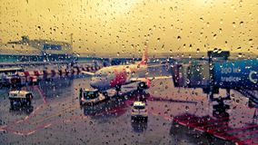 Rain drops counting. Raining at Prague airport before flight Royalty Free Stock Images