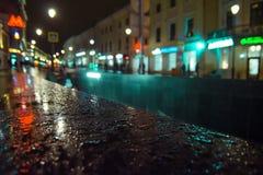 Rain drops. Curb of an underground passage in rain drops Stock Photo