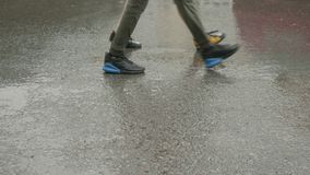 Girl and guy legs walking on grey wet from rain road, side view. stock video footage