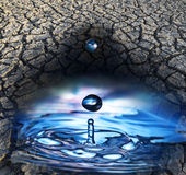 Rain drops and dry earth Stock Images