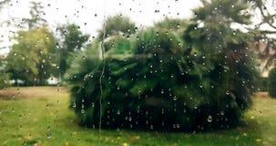 Rain drops falling down on glass blue background, water