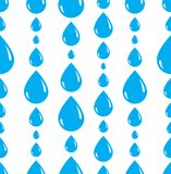 Rain drops falling seamless pattern, vector blue colored repeat. Endless background, dew water dripping Royalty Free Stock Photography