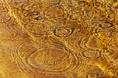 Rain drops. Falling into shallow water with golden sand royalty free stock photo