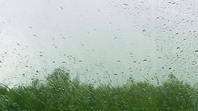 Rain drops falling on a window stock video footage