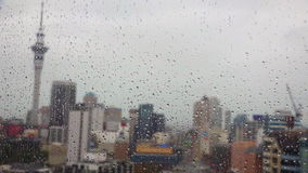 Rain drops falls on a window with Auckland CBD New Zealand stock video