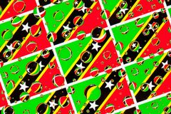 Rain drops full of Saint Kitts and Nevis flags royalty free stock photo