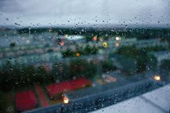 Rain drops on the glass. Drops of rain on the glass, rain outside the window, autumn melancholy, rainy weather, apathy, cloudy sky, cold Stock Photo