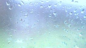 Rain drops on glass. Rain falling on glass during rain storm, close up vector illustration