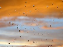 Rain drops on glass Stock Images