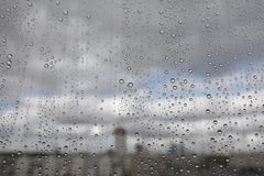 Rain drops on glass Stock Photos