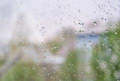 Rain drops on glass window Stock Photography