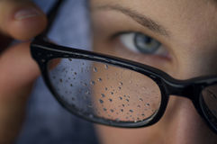 Rain drops on the glasses 1. royalty free stock photography