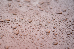 Rain drops on gloss Brown surface Royalty Free Stock Photography