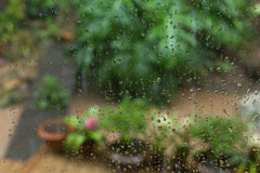 Rain drops on mirror window Stock Images