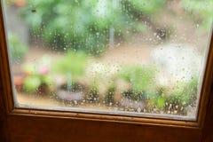 Rain drops on mirror window Stock Photography