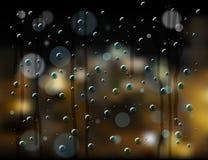 Rain drops night city Stock Photography