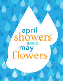 Rain drops poster. April showers bring May flosers, blue and white rain drops over blue background Stock Photos