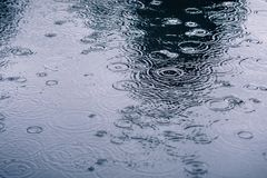 Rain drops rippling in a puddle. On a dark, rainy day royalty free stock photos