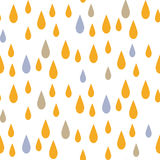 Rain drops seamless vector pattern. Blue and yellow rainfall in the sky on white background. Minimalist style textile fabric kid cartoon ornament Stock Photo