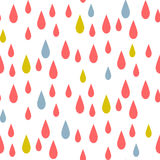 Rain drops seamless vector pattern. Red and blue rainfall in the sky on white background. Minimalist style textile fabric kid cartoon ornament Stock Image