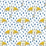 Rain drops and umbrella seamless pattern. Hand drawn vector illustration. Royalty Free Stock Photos