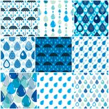 Rain drops and umbrellas seamless patterns set, weather nature m. Otif vector blue colored repeat endless backgrounds collection, dew water dripping falling Stock Photography