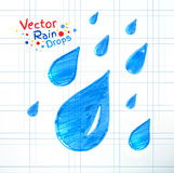 Rain drops. Vector illustration of rain drops. Felt pen child drawing on notebook checkered paper Stock Photo