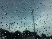 Rain drops or water droplets on the glass. stock photography