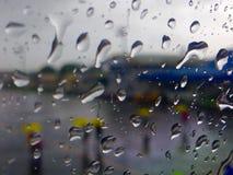 Rain drops. Water on glass Stock Image