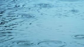 Rain Drops On Water Surface stock footage