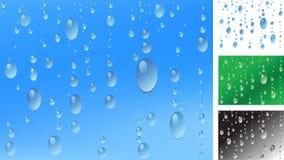 Rain drops on window. Raindrop pattern on window glass (with additional variants vector illustration