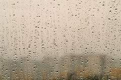 Rain drops on window. Autumn weather Stock Image
