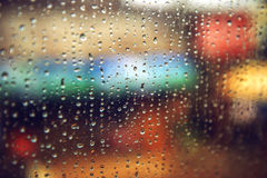 Rain drops on the window. Abstract color texture background.  Stock Images