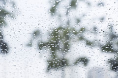 Rain drops on window with a background. Drip Stock Images