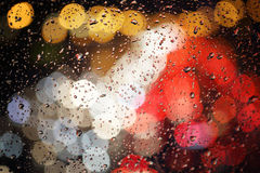 Rain drops on the window ,Bokeh Stock Images
