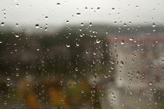 Rain drops on window closeup. Abstract background for design and ideas Stock Photo