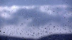 Rain drops on the window glass stock video