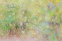 Rain drops on window glass Stock Photos