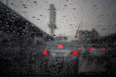 Rain drops on windshield Royalty Free Stock Images