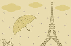Rain on the eiffel tower vintage retro background illustration Royalty Free Stock Images