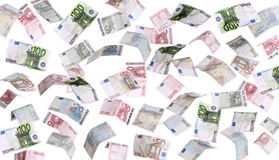Rain of european banknotes Royalty Free Stock Image