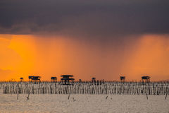 Rain in the evening. At the mouth pakkrada Royalty Free Stock Photography