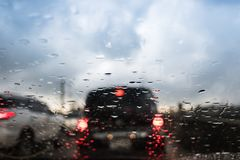 Rain fall and traffic jam in Bangkok Stock Photography