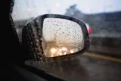 The reflection rain fall and traffic jam in Bangkok Stock Photos