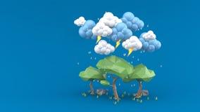 Rain falls on a big tree on a blue background royalty free illustration