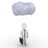 Rain falls on businessman. 3d image of a cloud and raindrops over a businessman Stock Photography