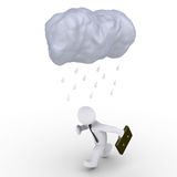 Rain falls on running businessman Stock Photos