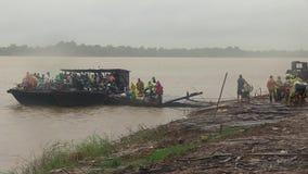 Rain, ferry boat, mekong, cambodia, southeast asia stock footage