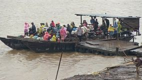 Rain, ferry boat, mekong, cambodia, southeast asia stock video footage