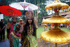 Rain festival. Artists did perform in the festival of rain in the city of Solo, Central Java, Indonesia Stock Image